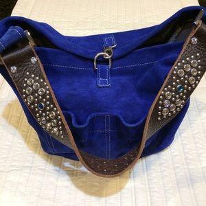 Flawless Tylie Malibu blue suede shoulder bag